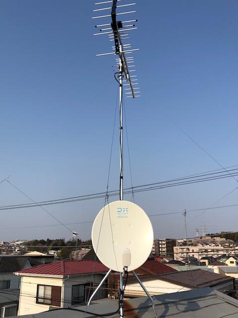 工事後。八木式UHFアンテナ+BSアンテナ